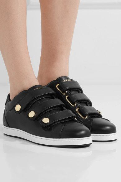 Jimmy Choo - Ny Studded Leather Sneakers - Black - IT35.5