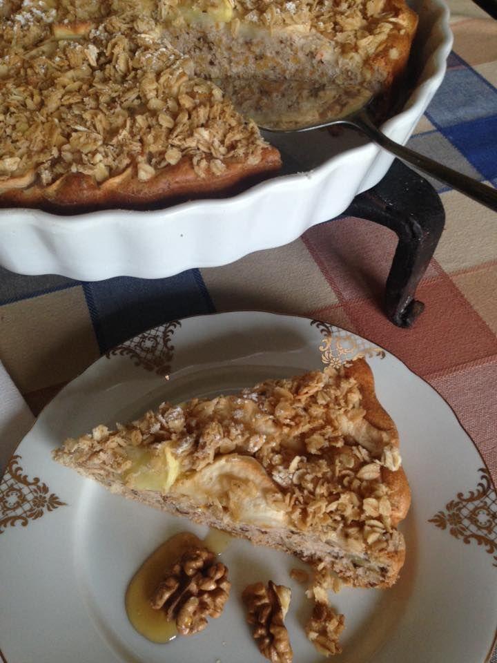 Podzimní koláč s vločkovou posypkou