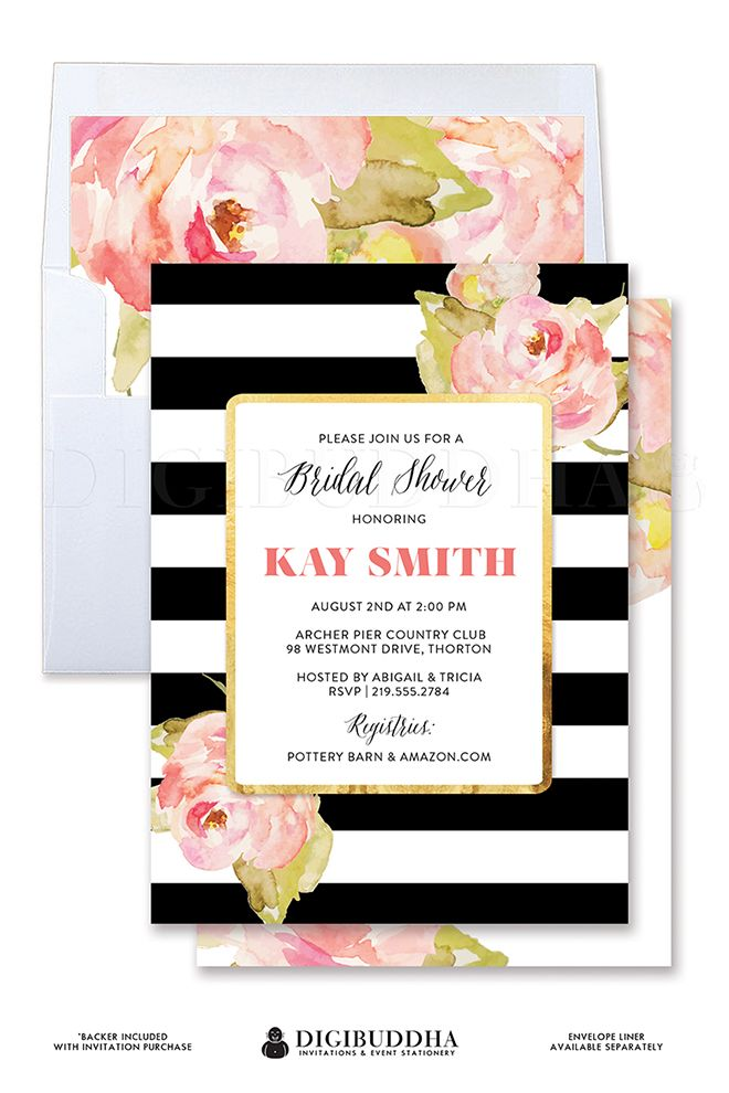 Black & White stripe bridal shower invitation with beautiful boho chic watercolor blush pink painted flowers. Gold accents and modern typography paired with beautiful whimsical calligraphy. Matching colored envelopes and striped envelope liners also available, only at digibuddha.com