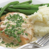Draped in a flavorful sauce, this rich and delicious dish is surprisingly low in fat and calories. Serve it over rice, pasta and steamed vegetables to complete the meal.