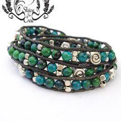 """Bracelet homme wrap """"yukon"""" 3 tours, en cuir, perles de chrysocolle et plaqué argent"""