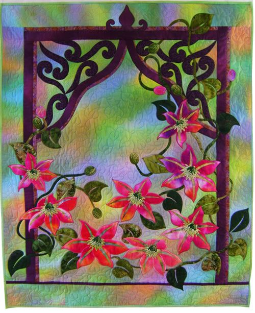 Mary Transom - Quilt Artist Anemone quilt machine appliqué and quilting
