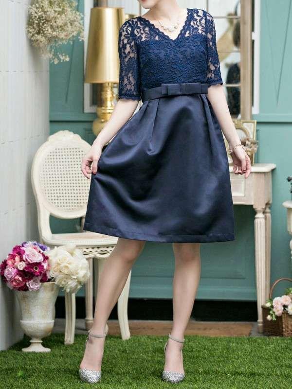 シンプルリボン付き 透かし彫りなVネックエレガント結婚式ドレス - レディースファッション激安通販|20代·30代·40代ファッション