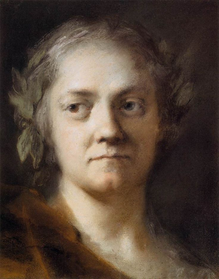 Self Portrait by Rosalba Carriera (12 January 1673[1][2] – 15 April 1757) was a Venetian Rococo painter. In her younger years, she specialized in portrait miniatures. She later became known for her pastel work, a medium appealing to Rococo styles for its soft edges and flattering surfaces.
