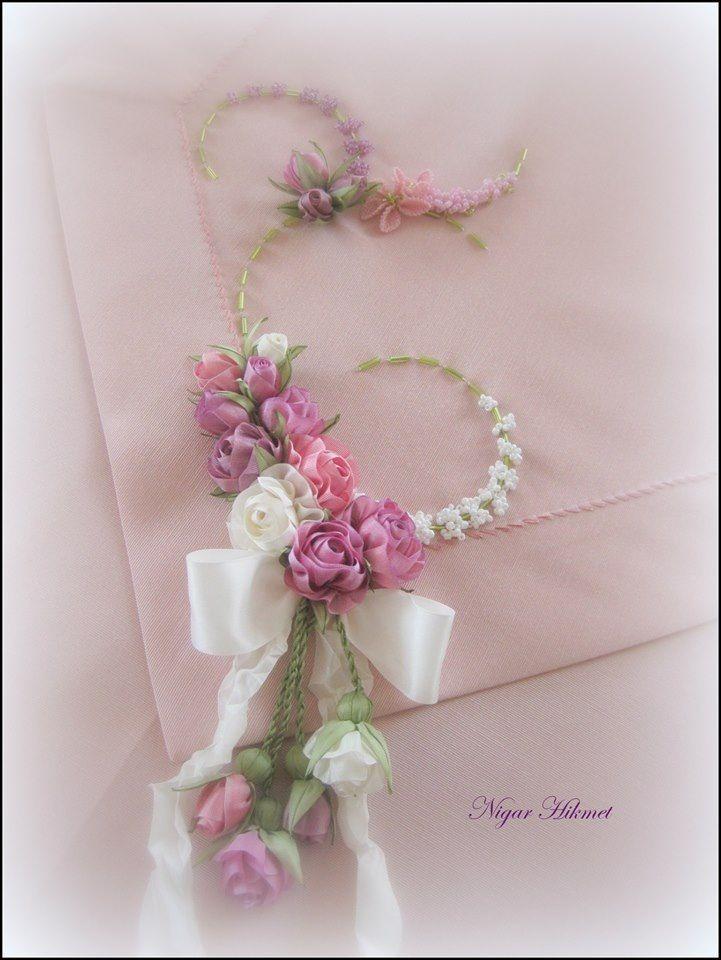 Ribbon flowers, embroidery, Nigar Hikmet