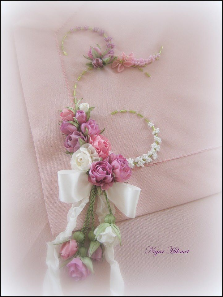 Ribbon flowers, embroidery, Nigar Hikmet