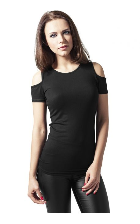 T-shirt  Femme Urban Classics CUTTED  noir - tshirt femme rose tee loose urban classic shirt nue TEESHIRT épaules