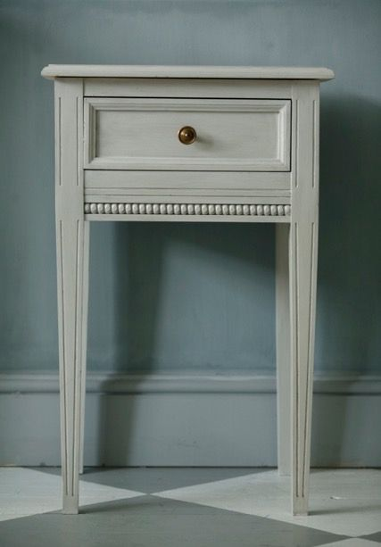 Fresco lime paint from Pure & Original on the wall, color Oxford Blue Floor paint Island White and Evening shadow.  table,  Ashes and Bone. Traditional Paint Water based on the table. Cred Nordshape