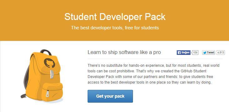 Sosyal kod yazma topluluğu Github öğrenciler için bir takım geliştirici araçlarına ücretsiz erişme fırsatı sunuyor.