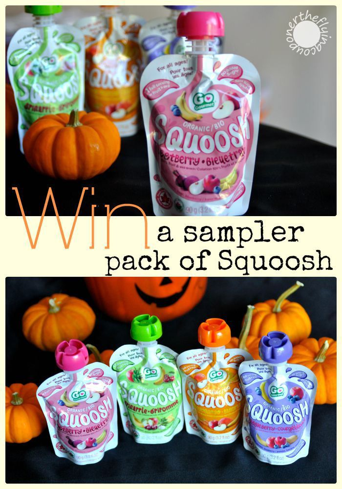 Enter our Squoosh Baby Gourmet Halloween Giveaway for a chance to win a sampler pack of Squoosh! Open to residents of Canada only. Ends: 10/15/2015 Good luck and have a happy Halloween!