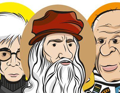 """""""Warhol, Da Vinci y Picasso"""" Caricaturas de 3 grandes artistas: Andy Warhol, Leonardo Da Vinci y Pablo Picasso"""