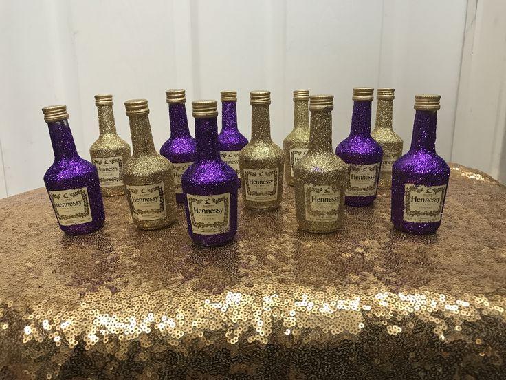 DIY glitter mini Hennessy bottles.