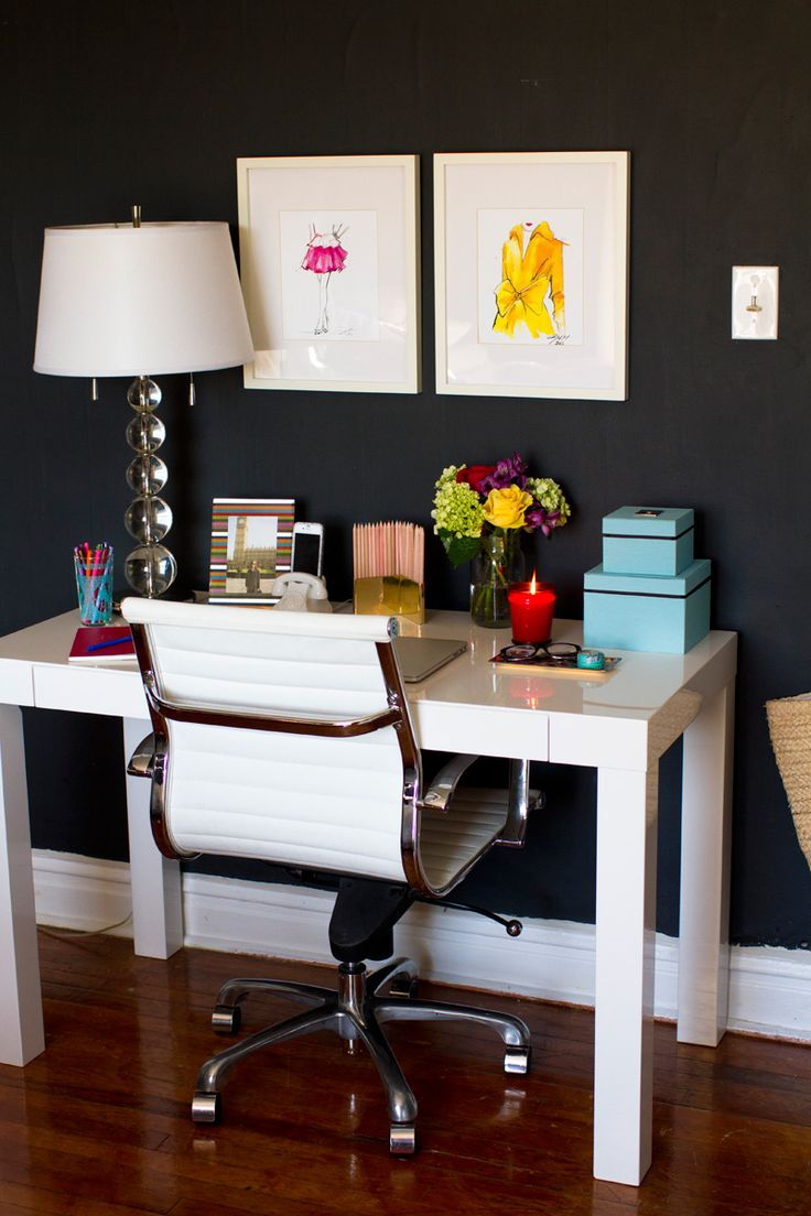 How to Style a West Elm Parsons Desk // white lacquer // black wall // colorful // turquoise, yellow, red // home office space // photography by Danielle Moss // styling by Alaina Kaczmarski