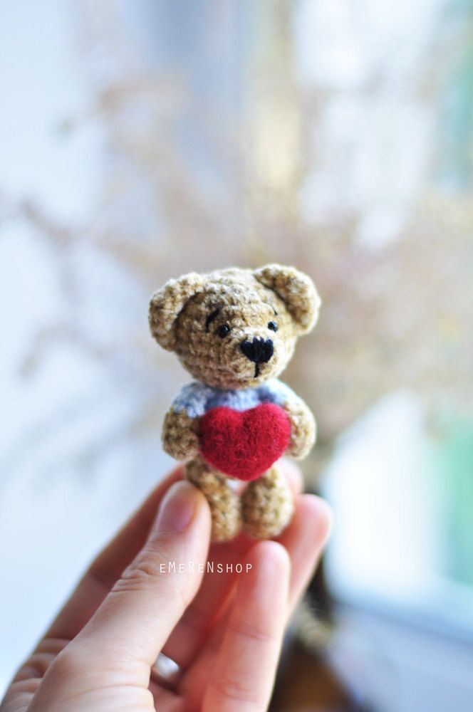 Small teddy bear with red heart- Crochet Teddy bear - Amigurumi Cutie Bear - Crochet Animal Plush - Children's Toy - Amigurumi Teddy Bear by EMERENstore on Etsy