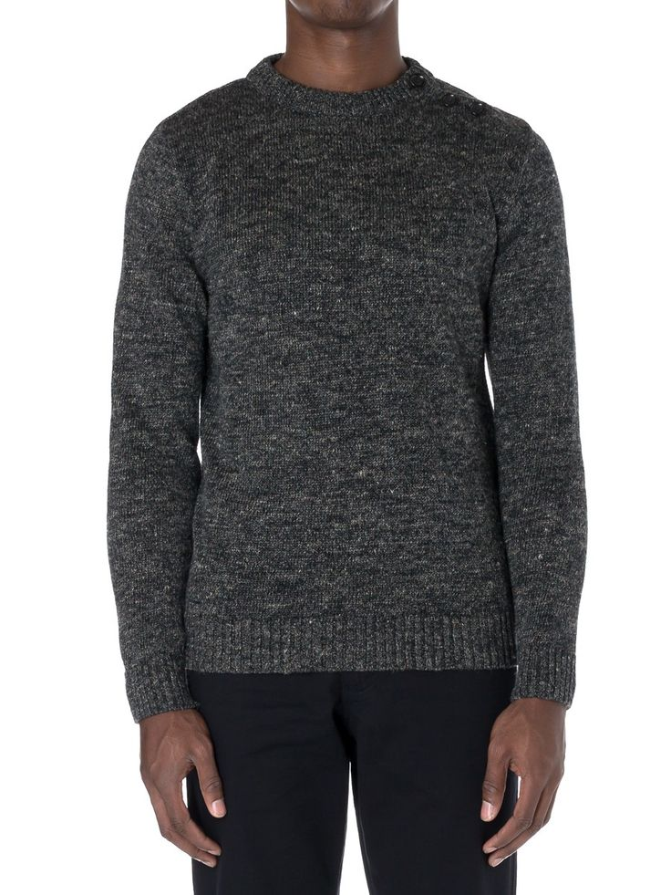 Button Crew Charcoal OSK347 | New In - Knitwear - Clothing - 30% off - Everything Linen  - Oliver Spencer