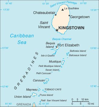 Country of Saint Vincent and the Grenadines Map