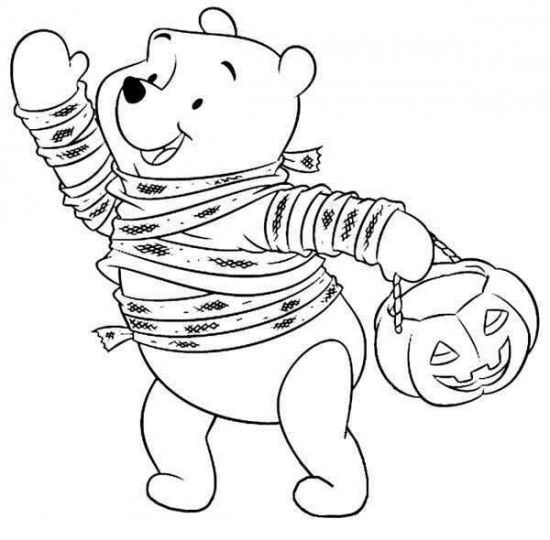 Disney Halloween Pooh Coloring Sheet For Kids Picture 26 550x540