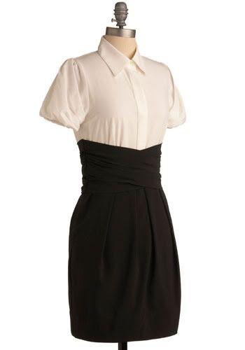 White blouse black pencil skirt.