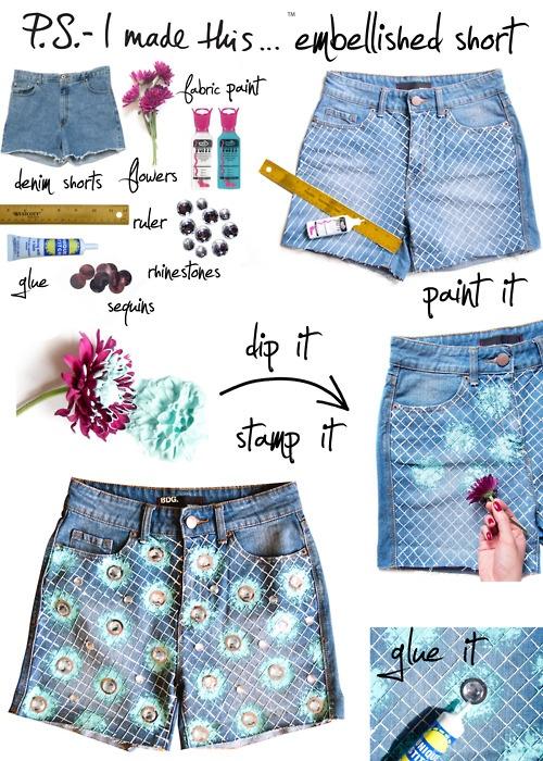 DIY SHORT Rosie+Huntington+Whiteley+Coachella+2012+Christopher+Kane+DIY+002Diy Ideas, Embellishments Shorts, Christopher Kane, Diy Tutorials, Diy Clothing, Flower Shorts, Jeans Shorts, Denim Shorts, Old Jeans