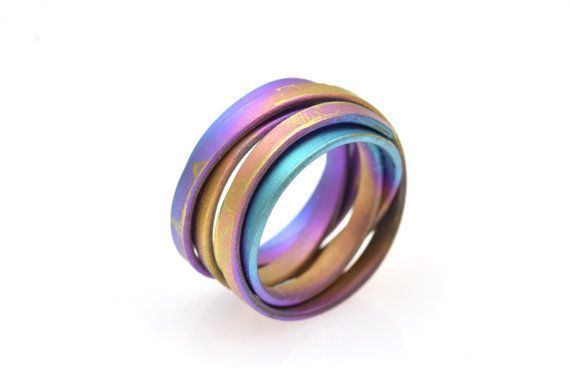 Anodized Titanium Ring Multi Color Band Ring Round by Giampouras #titanium #bandring