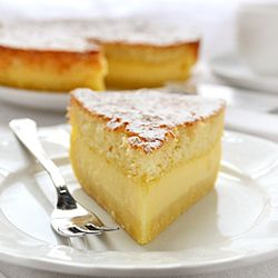 Magic Cake - the magic is in the fact that you make only one batter and, after baking, you get a cake with 3 distinct layers: dense one on the bottom, custard-like layer in the middle, and a fluffy sponge cake layer on top.