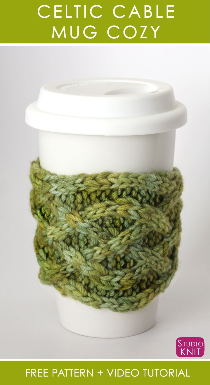 Knit Celtic Cable Mug Cozy by Studio Knit