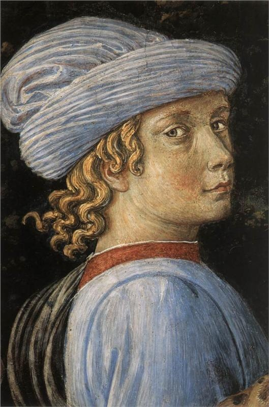 Procession of the Magus Caspar (detail), 1459-1461  Benozzo Gozzoli: Process, 1469 Gozzoli, Caspar Details, Benozzo Gozzoli, Oldest King, Gozzoli Benezo, Benezo Details, Palazzo Medici Riccardi, Gozzoli 1421