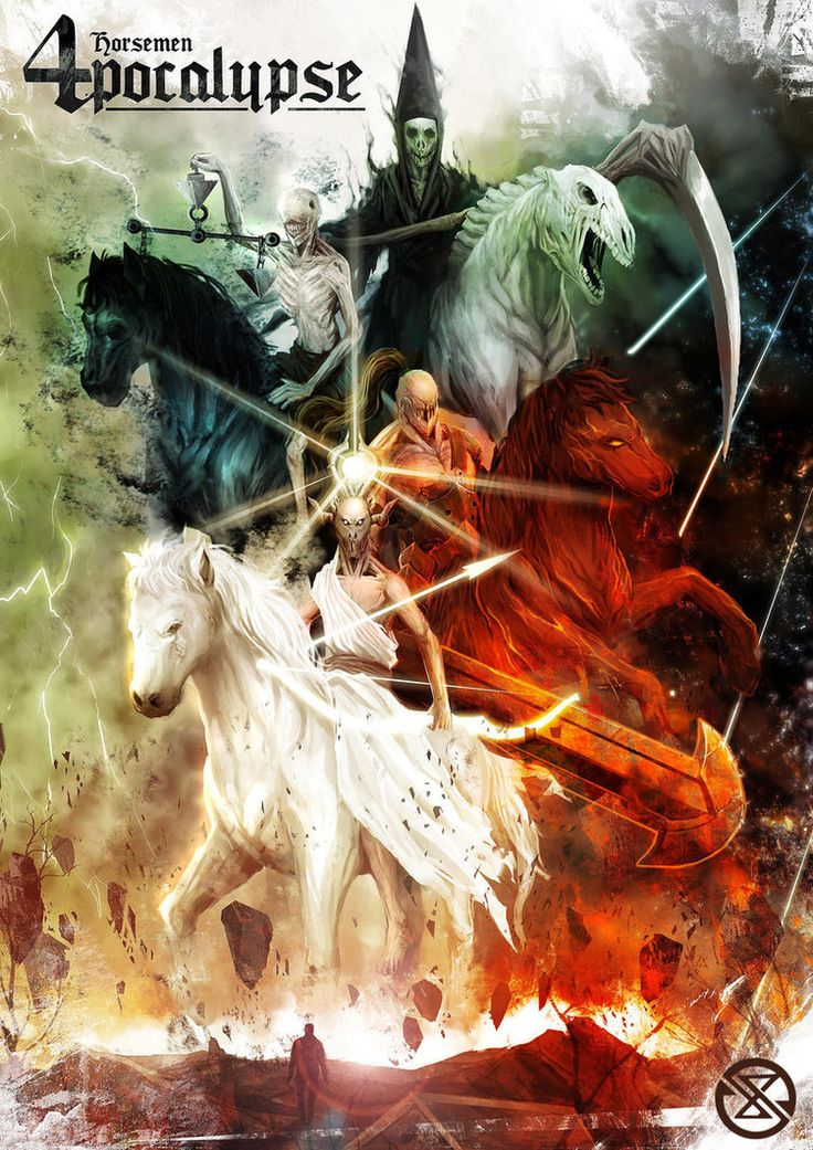 Four Horsemen Apocalypse by legowosnake on deviantART - I would make the horses more horse looking and color the horsemen