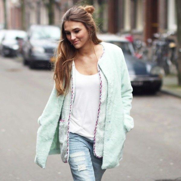 #Fashiontrends 2015    # coats   trends damesjassen voorjaar 2015   ZOOK.nl damesjas mintgroen Timeless Lady 44,95