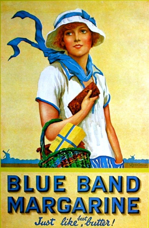 Blue Band Margarine, 1927 vintage food ad.