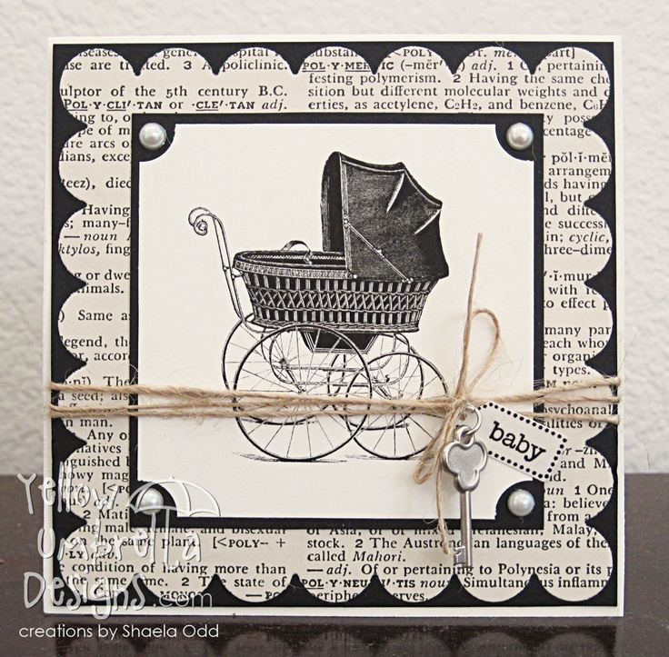 Super cute baby card - Paper: vintage encyclopedia; Stamps: etsy (image), Stampin' Up!; Key charm, mini tag punch: Stampin' Up!. Jute, pearls, nesties, Versafine ink