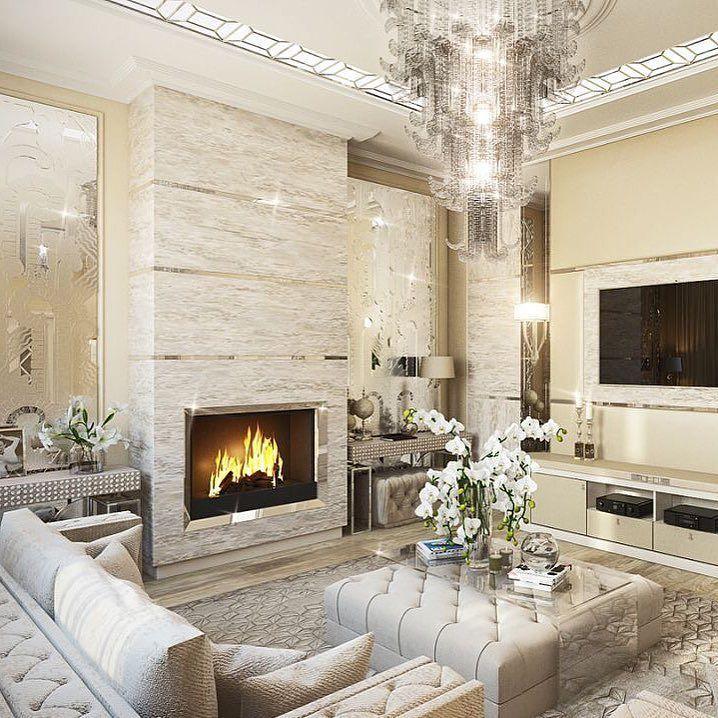 Дизайн камина в гостиной
