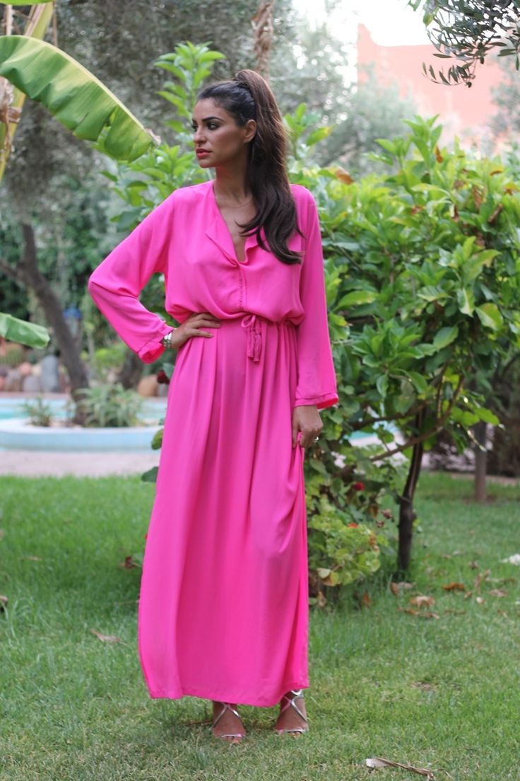 Farabian: Maxi Vestido Rosa Neon