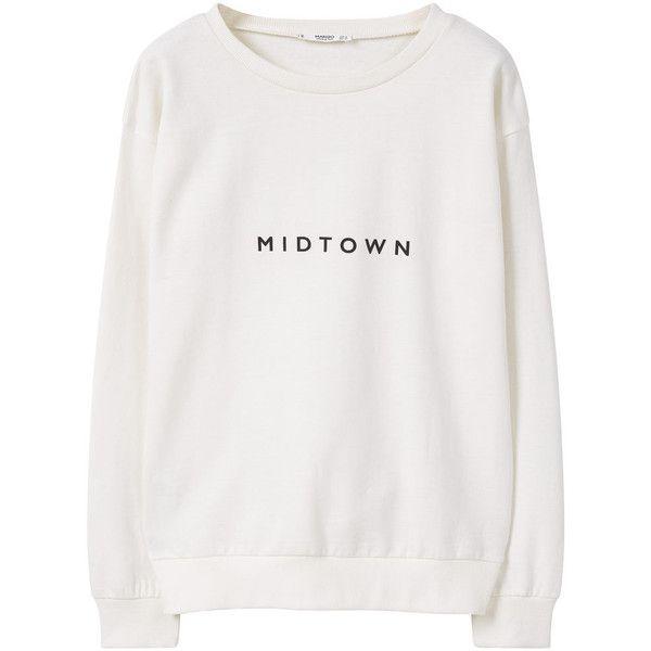 MANGO Message Sweatshirt ($40) ❤ liked on Polyvore featuring tops, hoodies, sweatshirts, print sweatshirt, long sleeve sweatshirt, round top, mango tops and patterned tops