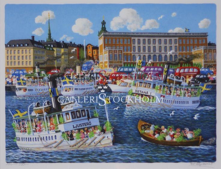 Bert Håge Häverö - Kungliga Slottet Litografi i begränsad upplaga om 295 ex, signerade av konstnären. Färdiginramad i äkta träram guld. Mått: Höjd 58 cm X Bredd 65 cm. Beställ här! Klicka på bilden.