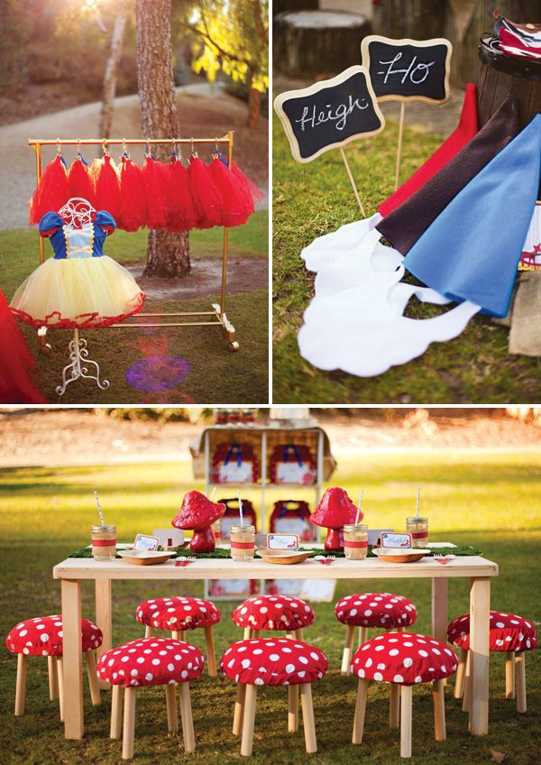 Snow White & the Seven Dwarfs in Woodland Party: Dress up station and toad stool seats