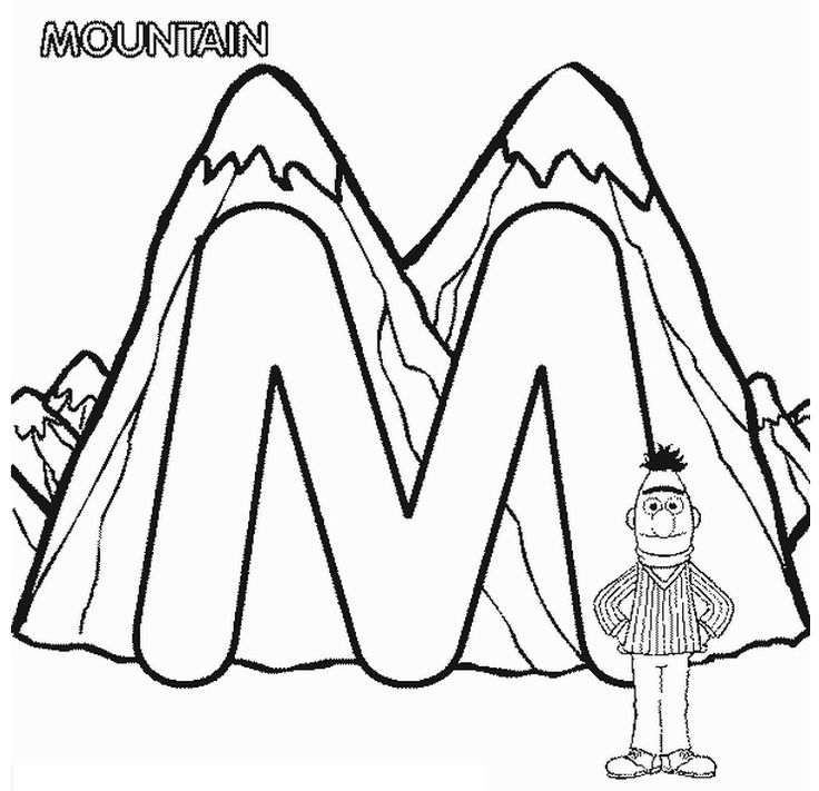 abc letter m mountain sesame street bert coloring page