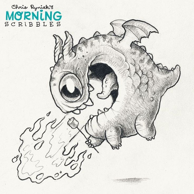 Toasted marshmallow! #morningscribbles #marshmallow cute art by Chris Ryniak