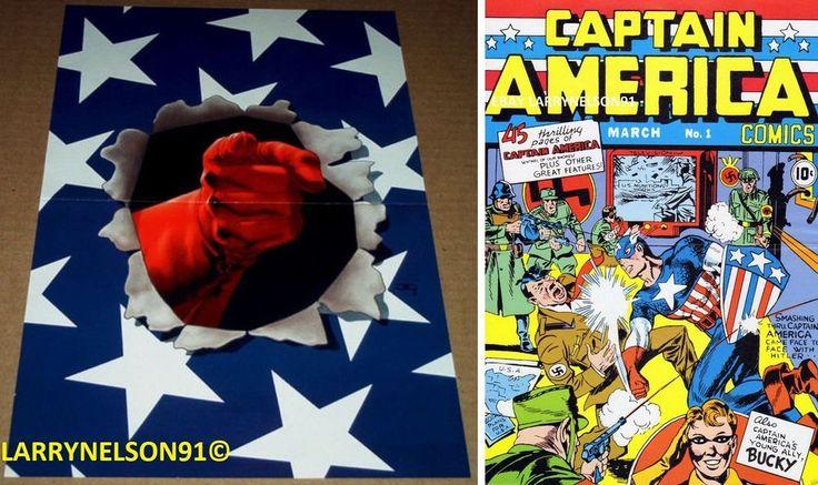 CAPTAIN AMERICA COMICS #1 POSTER MARVEL JACK KIRBY #3 PUNCHING HITLER BUCKY NAZI