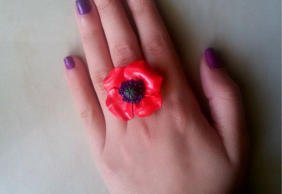 poppy ringpolymer clay poppy ringadjustablered by jewelryfoodclay