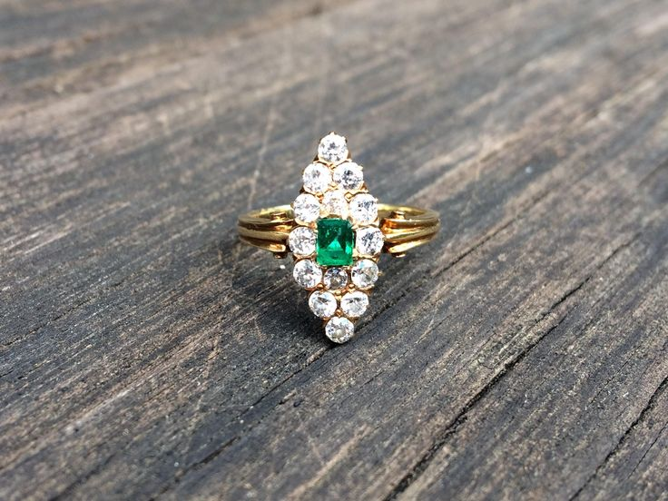 Antique marquise ring with emerald and diamonds. Europe, the end of 19th - beginning of 20th centuries. by ArtJewelsStore on Etsy