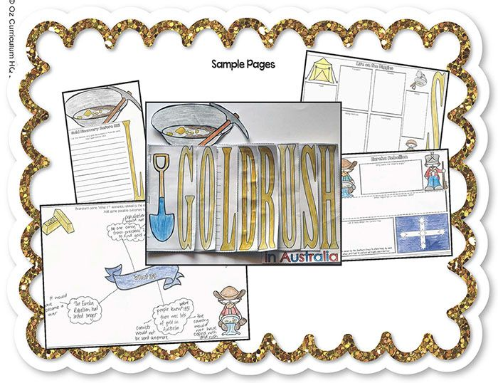 Add a new and fun dimension to your study of the Australian gold rushes. This layered word book spells the word GOLDRUSH and each page contains questions for students to investigate and answer. A note-taking table is included to support students as they investigate the answers to the questions. Australian history lessons