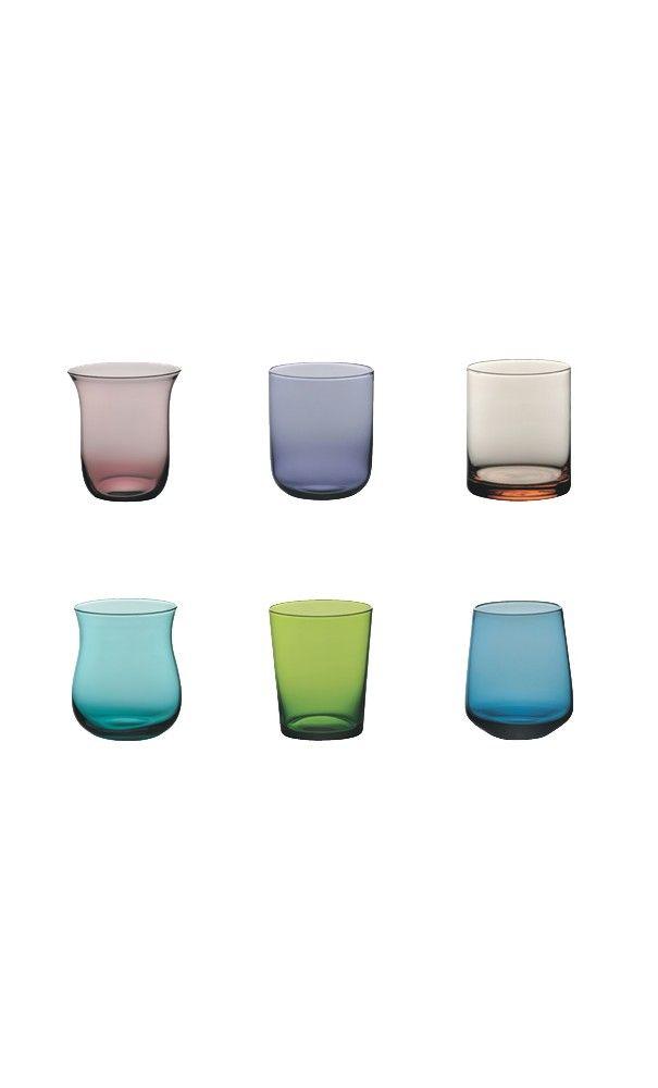 Set tumbler Bitossi Set12tumblerin vetro soffiato multicolor in varie forme Lista nozze