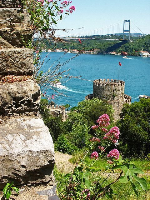 View of the Bosphorus from the walls of Rumeli Hisarı / Istanbul,Turkey