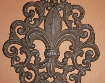 """13% OFF 8) Saints Home Decor, Fleur De Lis Wall Plaque, Solid cast iron, 9 1/2"""", Louisiana home decor, Fleur De Lis design, Free Ship, F-10 by wepeddlemetal. Explore more products on http://wepeddlemetal.etsy.com"""
