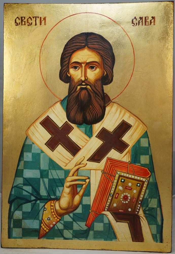 High quality hand-painted icon of Saint Sava of Serbia Large. BlessedMart offers Religious icons in old Byzantine, Greek, Russian and Catholic style.