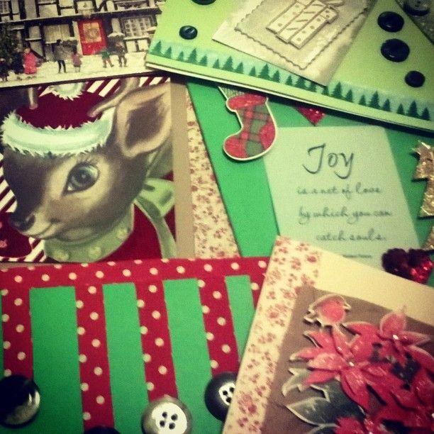 A selection of handmade Christmas cards made from scrap material #handmadechristmas #handmade #susty #eco