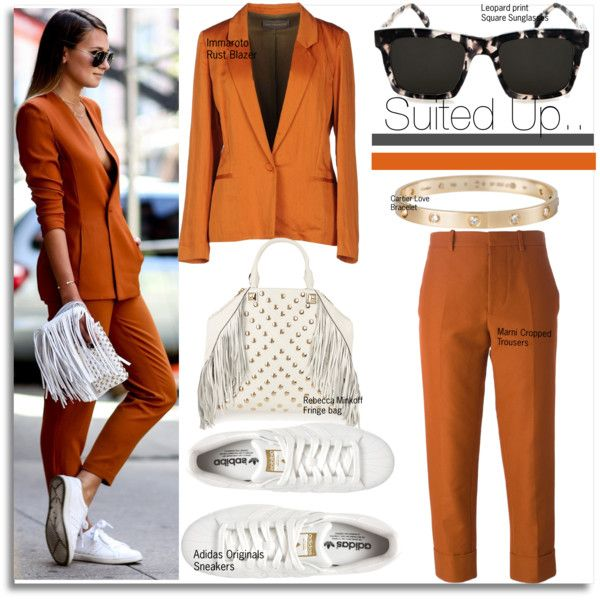 Suited Up Street Style... by nfabjoy on Polyvore featuring polyvore fashion style Innamorato Marni adidas Originals Rebecca Minkoff Cartier StreetStyle Summer fringe suit sneakers