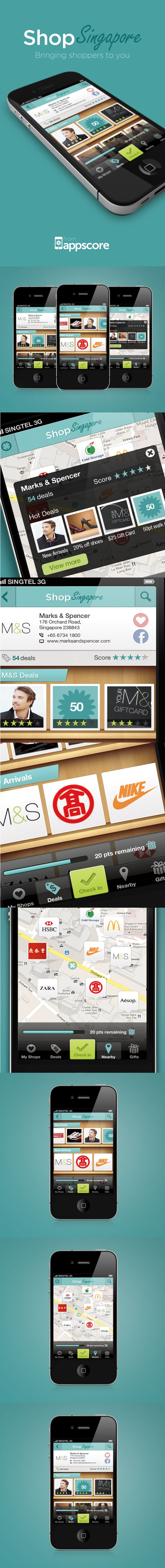 Shop Singapore iPhone application design by Mike Thomas, via Behance