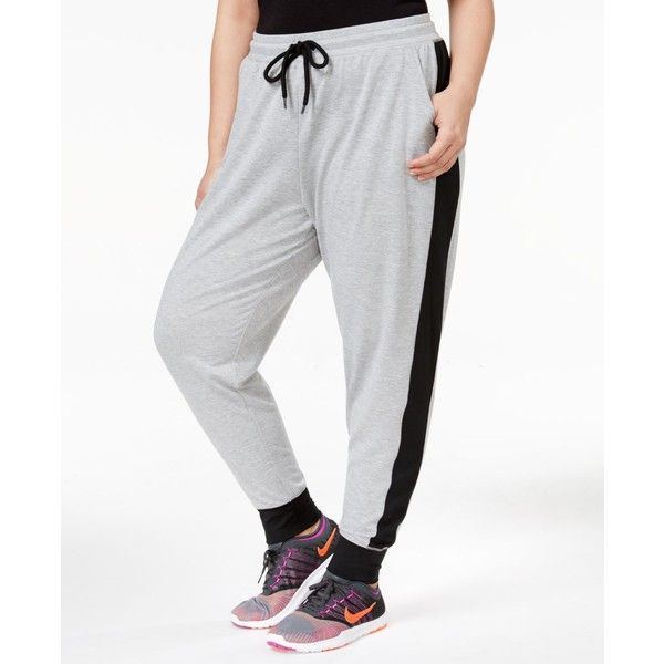 Material Girl Trendy Plus Size Striped Sweatpants, Created for Macy's (1.011.530 VND) ❤ liked on Polyvore featuring plus size women's fashion, plus size clothing, plus size activewear, plus size activewear pants, heather platinum, material girl activewear, striped sweat pants and plus size sportswear